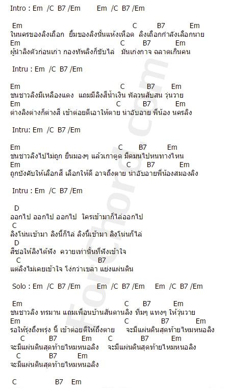 คอร์ดเพลง นครลิง - ปู พงษ์สิทธิ์ คัมภีร์
