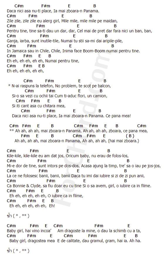 คอร์ดเพลง ปานามา (Panama) - Matteo
