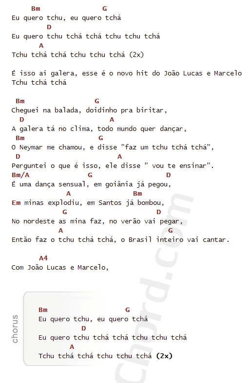 คอร์ดเพลง Tchu Tcha Tcha (Eu quero tchu, Eu quero - Joao Lucas & Marcelo