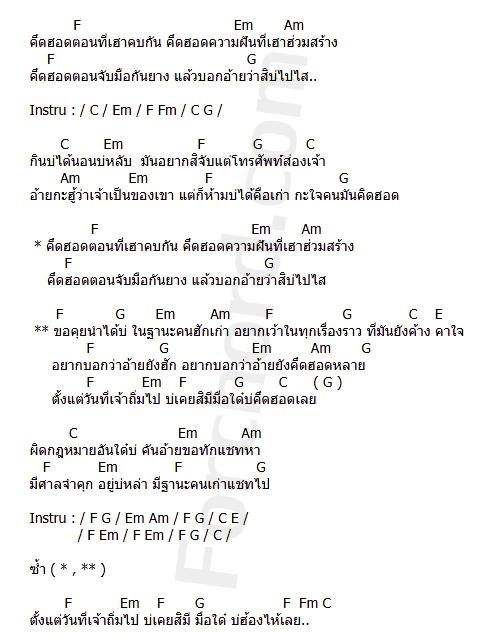 คอร์ดเพลง ฐานะคนฮักเก่า - กานต์ ทศน (คอร์ด ง่ายๆ)