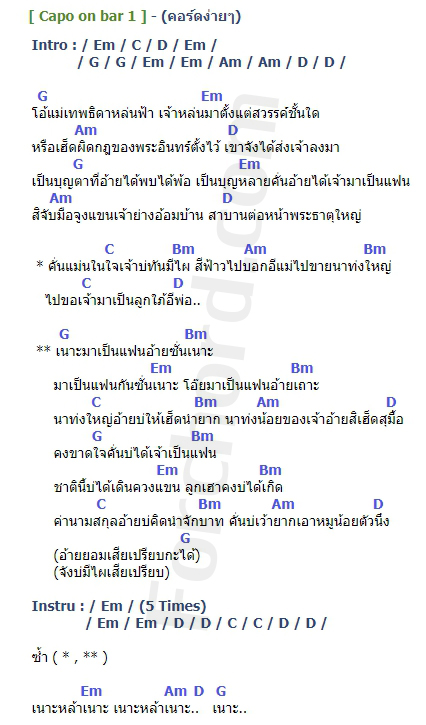 คอร์ดเพลง เนาะ (ເນາະ) - บอม ลูกพระธาตุ (คอร์ด ง่ายๆ)