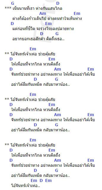 คอร์ดเพลง จันทร์เจ้าเหอ - มาลีฮวนน่า (คอร์ด ง่ายๆ)