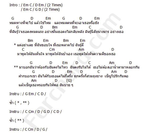 คอร์ดเพลง ถุงยาง - วง L.ก.ฮ (คอร์ด ง่ายๆ)