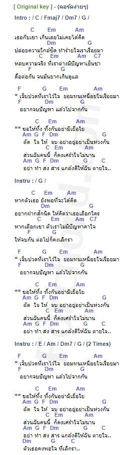 คอร์ดเพลง เลิกรา - แมว จิรศักดิ์ (คอร์ด ง่ายๆ)