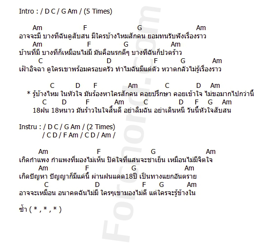 คอร์ดเพลง 18 ฝน - เสือ ธนพล (คอร์ด ง่ายๆ)