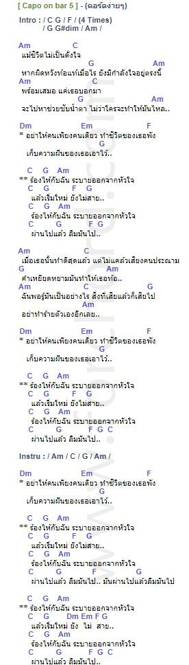 คอร์ดเพลง ร้องไห้กับฉัน - เสือ ธนพล (คอร์ด ง่ายๆ)