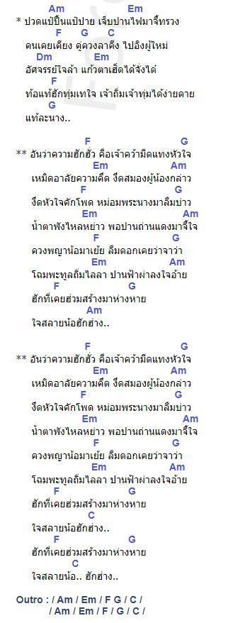 คอร์ดเพลง อันความฮัก - ต่อ เจริญศิลป์ (คอร์ด ง่ายๆ)