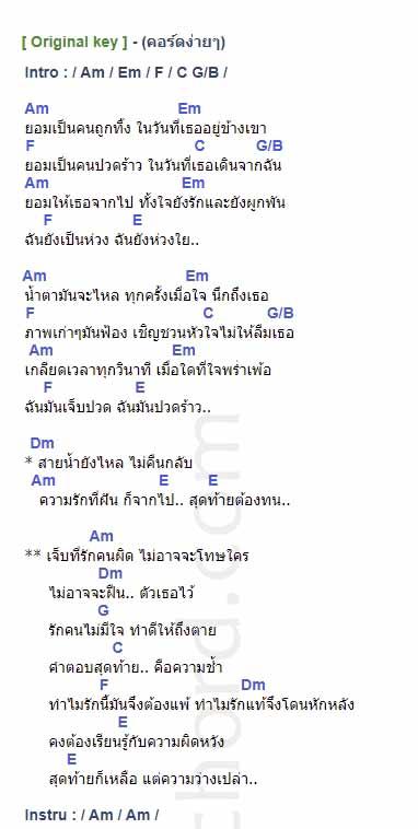 คอร์ดเพลง รักคนผิด - LABANOON (ลาบานูน) (คอร์ด ง่ายๆ)